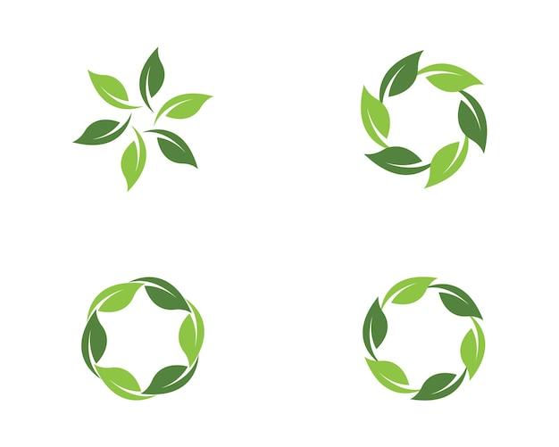 緑の木の葉の生態自然要素ベクトルアイコンのロゴ