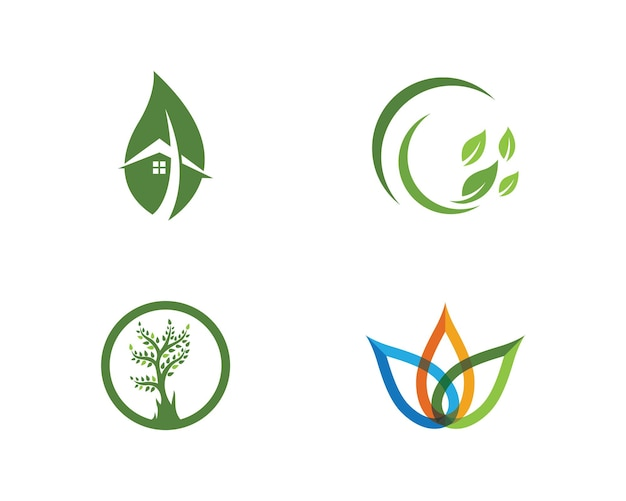 Логотипы зеленого дерева листьев экологии природы элемент вектора значок