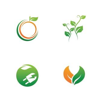 Логотипы зеленого дерева листьев экологии природы элемент вектора