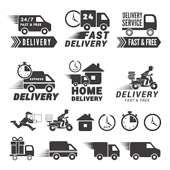 Logos set of fast delivery service.