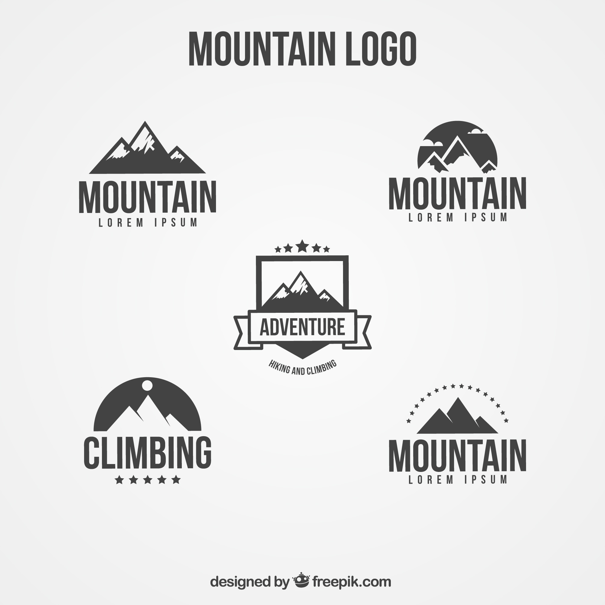 Logos set of flat mountain