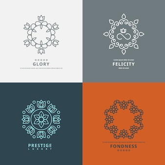 Logos templates in style with floral elements.  design flower symbol, ornate elegant