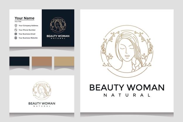 美しい自然な顔のラインアートスタイルと名刺のデザインのロゴ。ビューティーサロンや化粧品のデザインコンセプト。