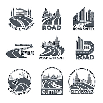 Logos with curved pathways and place for your text
