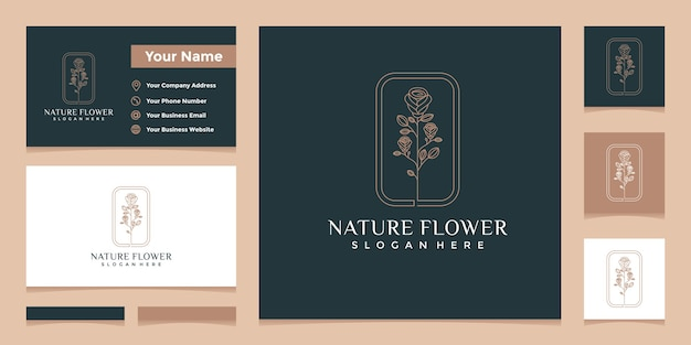 Logos with elegant natural floral line art style and business card design