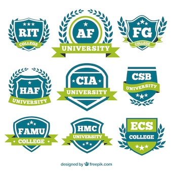 Logos with green ribbons for college