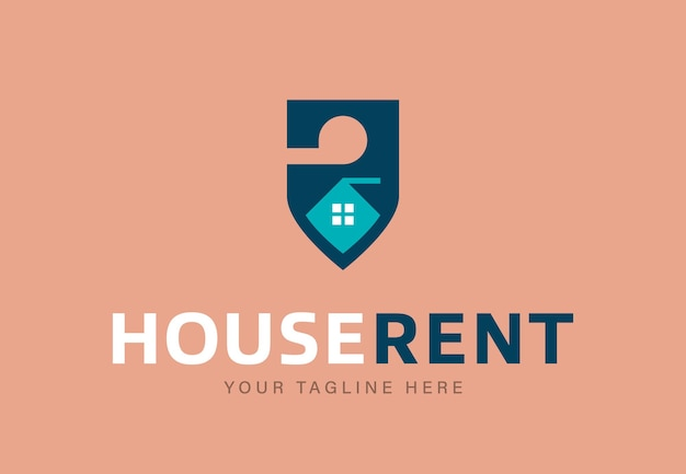Logotype design template for real estate agency offering house rent