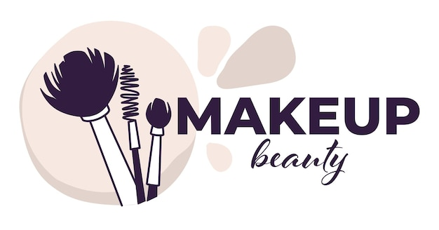 Logotype or emblem for beautician salon or studio. isolated emblem with calligraphic inscription and brushes. cosmetics and professional skin care and treatment of master. vector in flat style