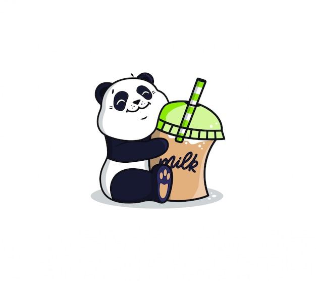 Logotype panda with ice drink