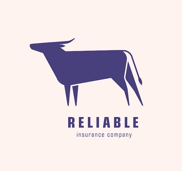 雄牛または牛のシルエットのロゴタイプ。エレガントな牛の草食動物のロゴ。白い背景で隔離のデザイン要素。保険会社のアイデンティティのモノクロフラットベクトルイラスト。