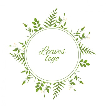 Logotype with watercolor leaves