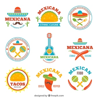 Logotypes of tasty mexican food