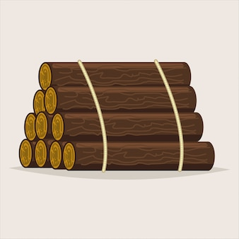 Logs tree. timber vector cartoon illustration isolated