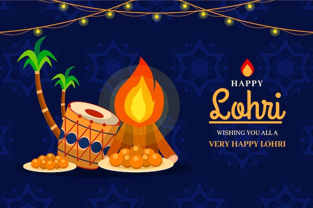 Lohri bonfire and palm trees illustration