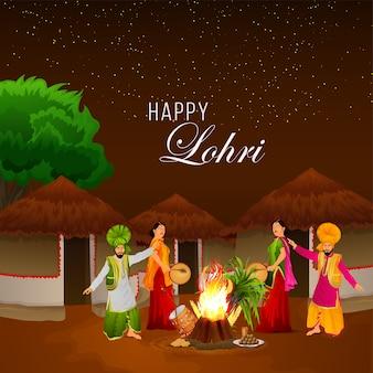 Lohri celebration banner and greeting card