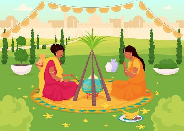 ローリお祝いフラットカラーイラスト。公園での伝統的な神聖なごちそう。サリーの女性。ヒンドゥー教の休日。背景に街並みとインドの女性の2d漫画のキャラクター