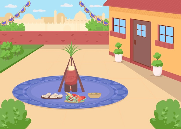 Lohri meal flat color . traditional hindu holiday celebration. punjabi food in home backyard. vaisakhi feast. indian 2d cartoon landscape with cityscape on background