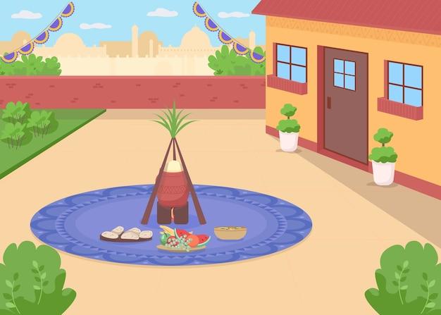 Еда lohri плоского цвета. традиционный индуистский праздник. пенджабская еда на заднем дворе дома. праздник вайсакхи. индийский 2d мультяшный пейзаж с городским пейзажем на фоне
