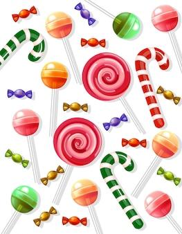 白い背景に現実的なロリポップとキャンディーパターン