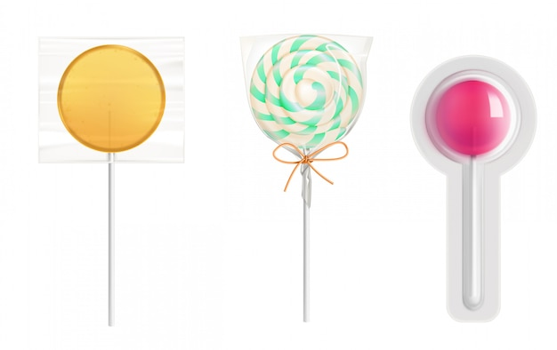 Lollipop candies in transparent plastic pack