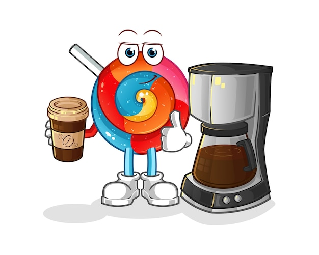 Lollipop drinking coffee illustration