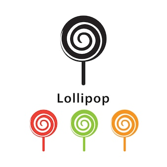 Lollipop icon on white background with different color set..