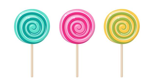 Леденец, круглая спиральная конфета на палочке. леденцы со вкусом мяты, клубники, лимона и фруктов. векторный мультфильм набор твердой сахарной карамели с полосатыми завитками на деревянной палочке, изолированные на белом фоне