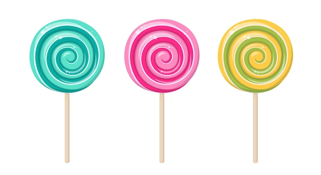 Lollipop, round spiral candy on stick. mint, strawberry, lemon and fruit taste lollypops. vector cartoon set of hard sugar caramel with striped swirls on wooden stick isolated on white background
