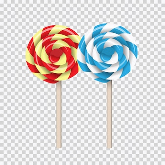 Lollipop swirl, colored sugar candies set