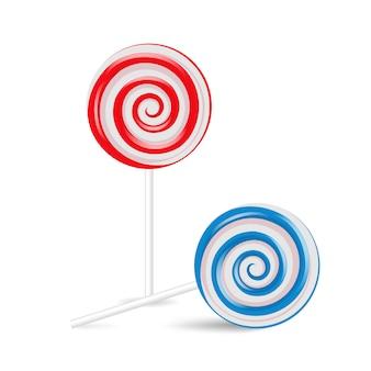 Lollipop swirl set, colored sugar candies