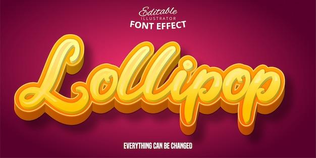 Lollipop text, 3d editable font effect