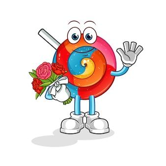Lollipop with bouquet mascot