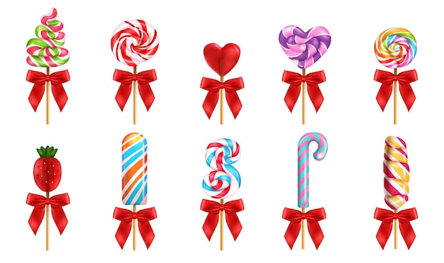 Lollipop with red bow realistic set of different forms and colors sweet candies isolated