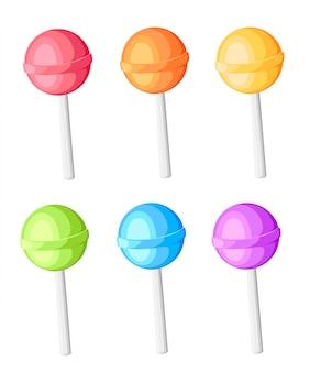 白い背景の上の漫画のスタイルでツイストの甘いキャンディロリポップイラストアイコンが付いている棒のロリポップコレクションキャンディ