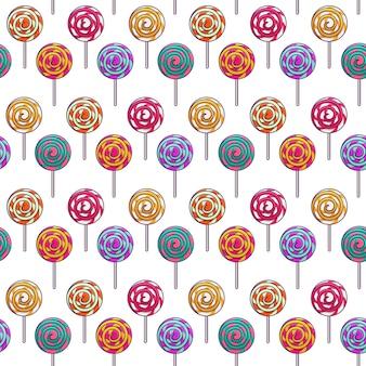 ロリポップシームレスパターン、子供のための甘いデザート。棒のキャンディー。