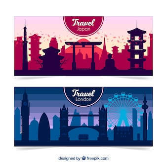 London and japan travel banners