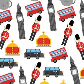 런던과 영국 도시 군인 크라운 택시 버스 빅 벤 아이콘