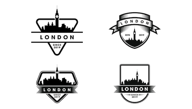 Лондонский значок логотипа. лондонский горизонт и достопримечательности силуэт