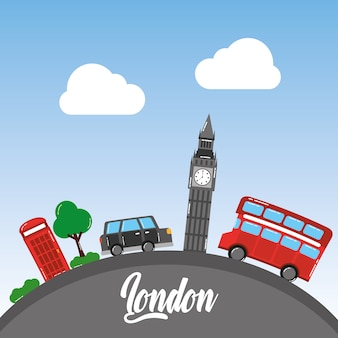 London big ben double decker bus taxi telephone booth tree sky