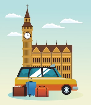 London big ben and taxi cab with travel suitcases