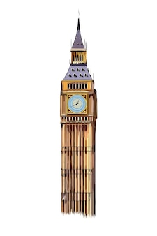 色とりどりの絵の具からロンドンのビッグベンタワー水彩画のスプラッシュがリアルに描かれています