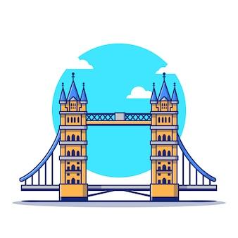 ロンドンブリッジ漫画アイコンイラスト。有名な建物旅行アイコンのコンセプトが分離されました。フラット漫画のスタイル
