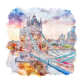 Лондонский мост соединенное королевство акварельный эскиз рисованной иллюстрации