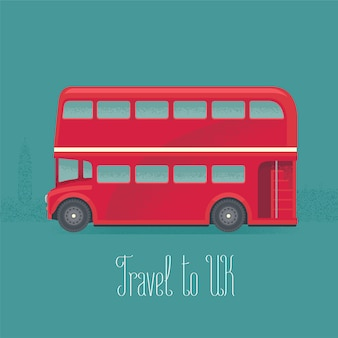 London, britain double-decker red bus vector illustration