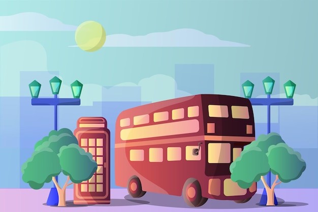 London bus and telephone box illustration landscape for tourist objects