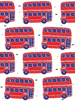 평면 디자인 스타일에 런던 버스 투어 원활한 패턴
