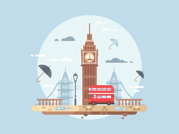 London city flat. big ben tower and british bus, vector illustation