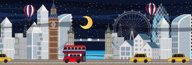 夜のロンドン市の水平方向のシーン