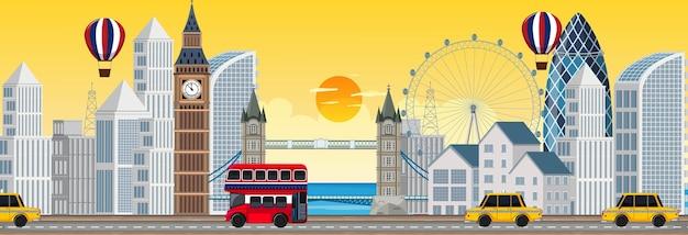日没時のロンドン市の水平方向のシーン