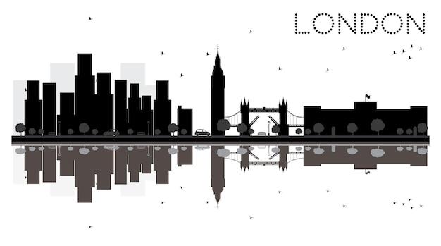Лондонский городской горизонт черно-белый силуэт с отражениями. векторные иллюстрации. простая плоская концепция для туристической презентации, баннера, плаката или веб-сайта. городской пейзаж с достопримечательностями.